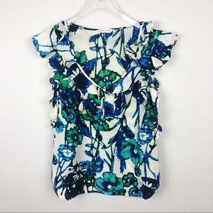 Rebecca Taylor Batik Watercolor Floral Silk Blouse